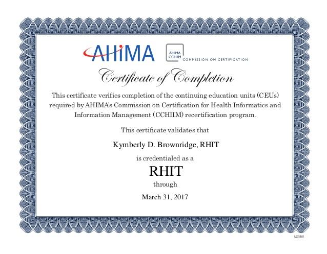 certification rhit