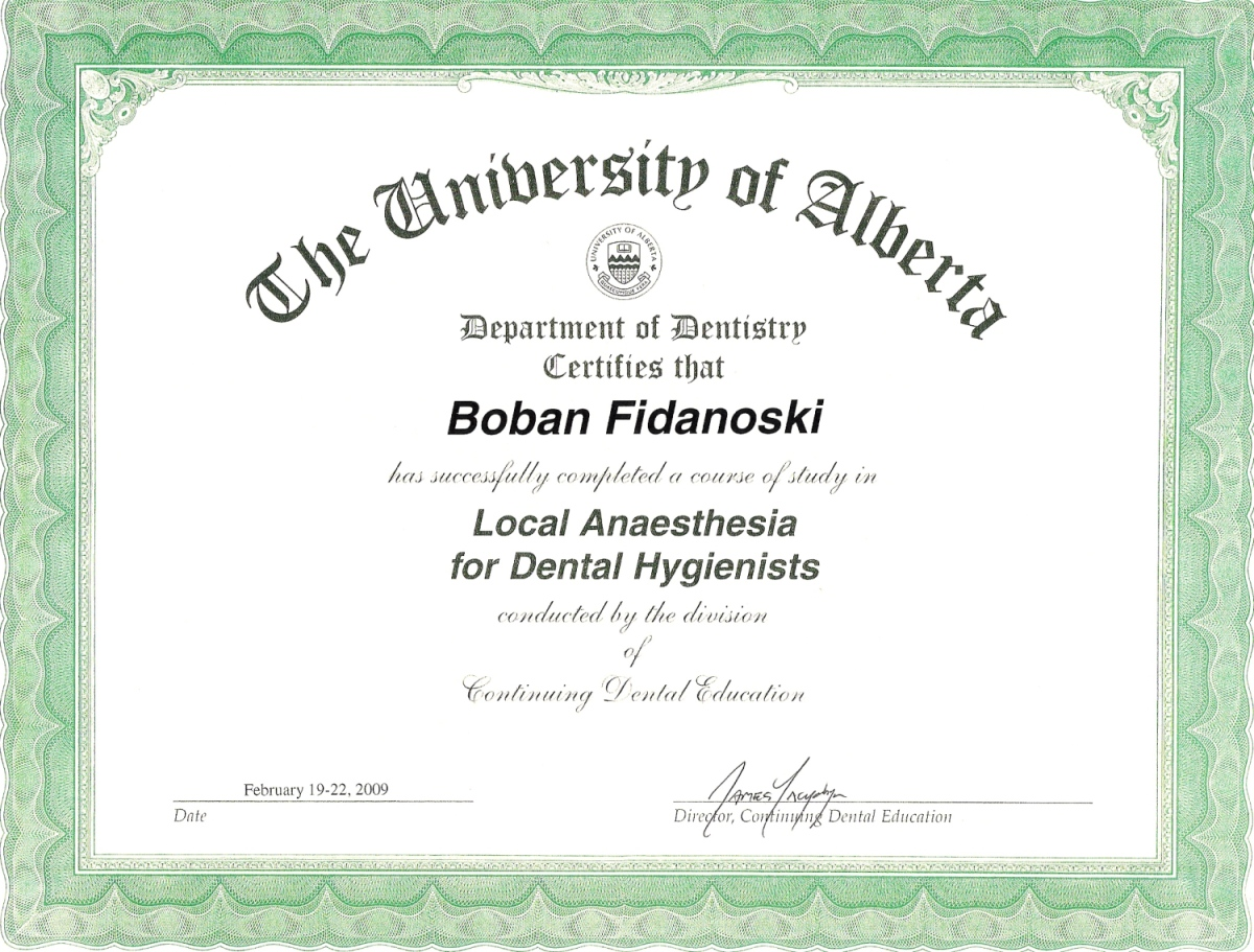 dental hygienist certificate