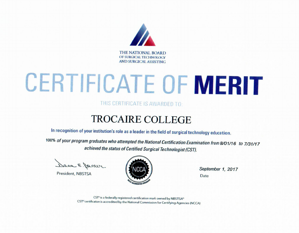 surgical technologist certificate